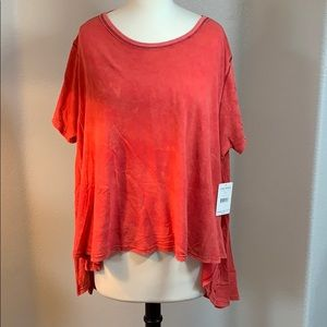NWT free people coral short sleeve loose top XXL